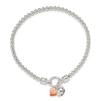Sterling Silver Rose -tone Heart and Bell Stretch Bracelet