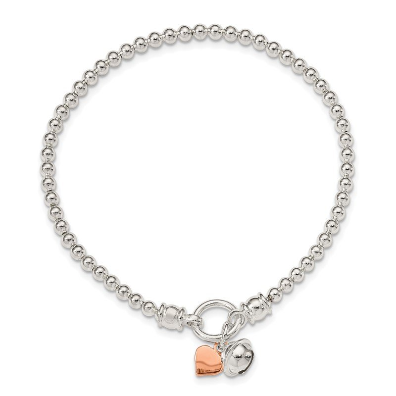Fine Jewelry by JBD Sterling Silver Rose -tone Heart and Bell Stretch Bracelet