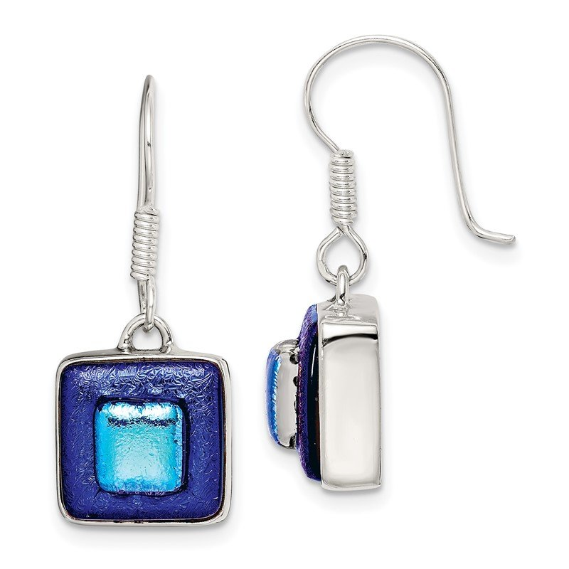 Quality Gold Sterling Silver Blue Dichroic Glass Square Shaped Dangle Earrings