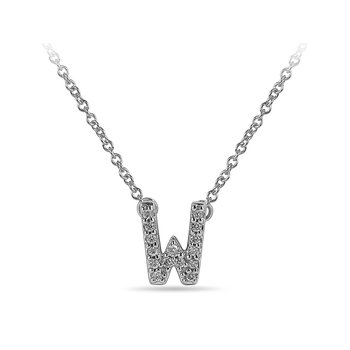 "10K WG and diamond block letters alphabet W ""chain-attached"" pendant in prong setting"