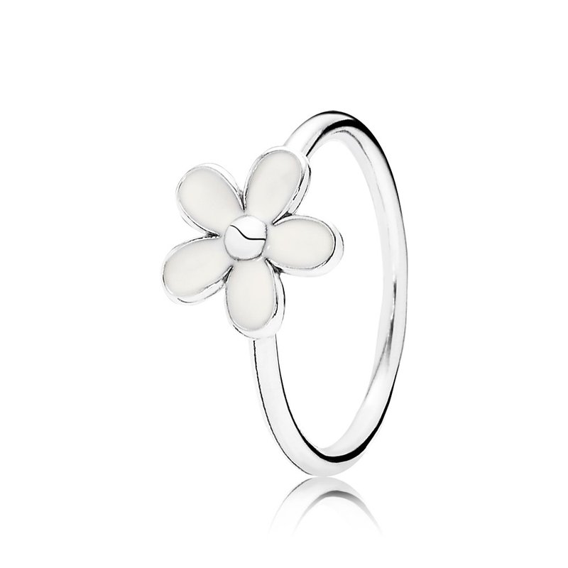 PANDORA Darling Daisy Stackable Ring, White Enamel