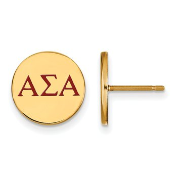 Gold-Plated Sterling Silver Alpha Sigma Alpha Greek Life Earrings