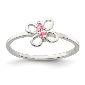 Sterling Silver Pink CZ Butterfly Kid's Ring