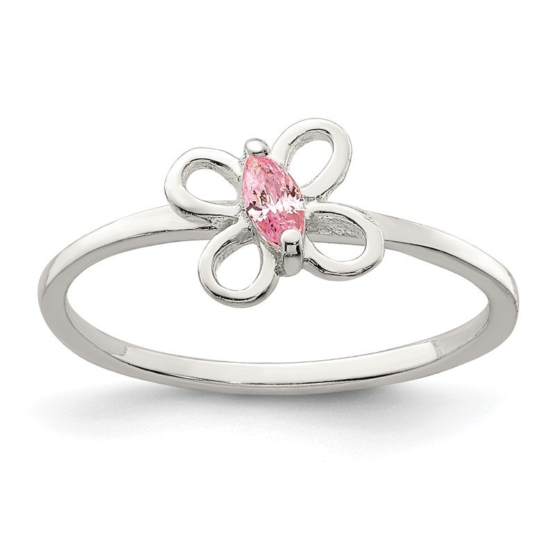 Quality Gold Sterling Silver Pink CZ Butterfly Kid's Ring