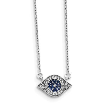 Sterling Silver Rhodium-plated Polished CZ Eye 17 inch Necklace