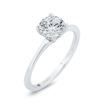 18K White Gold Diamond Engagement Ring with Plain Shank (Semi-Mount)