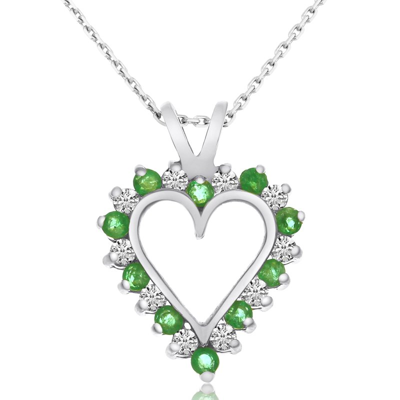 Color Merchants 14k White Gold Emerald and Diamond Heart Pendant