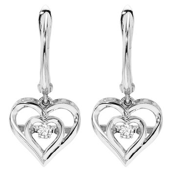 Sterling Silver Rhythm of Love Prong Diamond Earrings 1/25CT