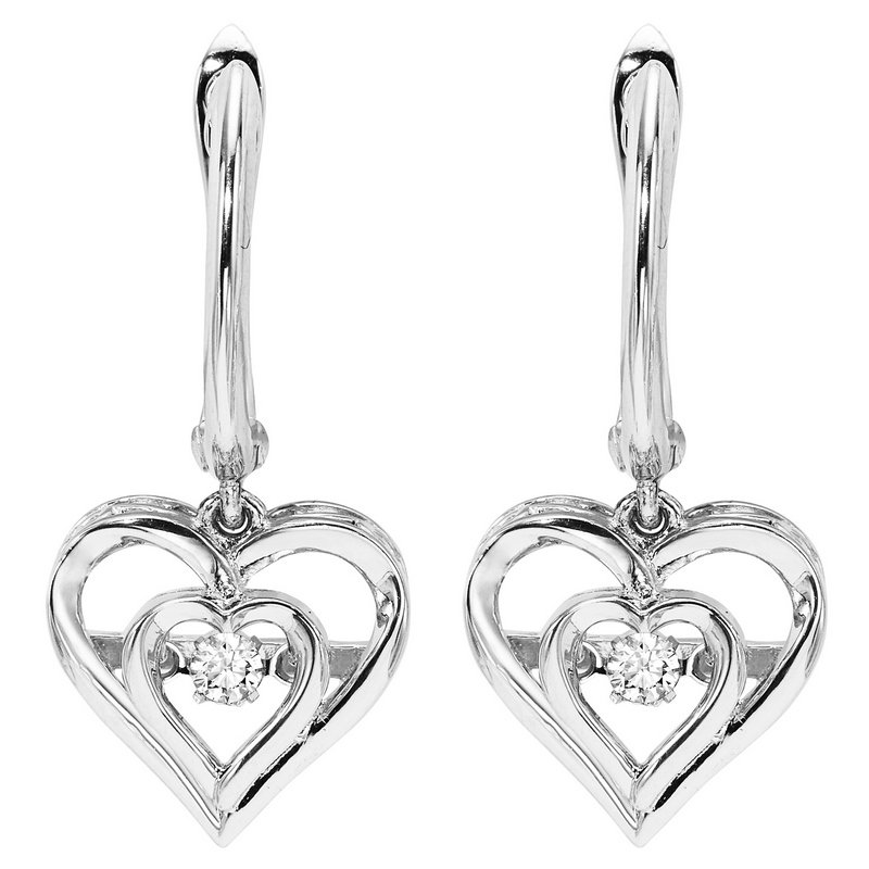 Gems One Sterling Silver Rhythm of Love Prong Diamond Earrings 1/25CT