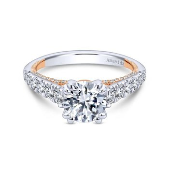 18K White-Rose Gold Diamond Eng Ring