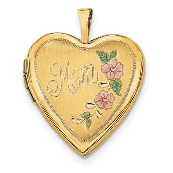 14K 20mm Enamel Flowers MOM Heart Locket