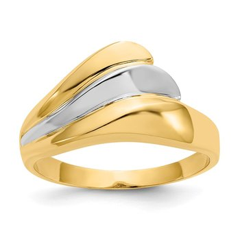 14k w/Rhodium Polished Wave Ring