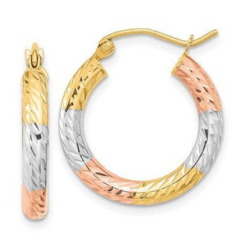 14k w/White and Rose Rhodium Polished Diamond-cut Hoop Earrings