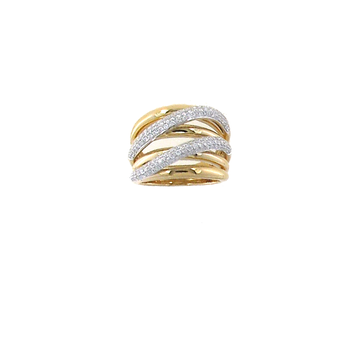 18KT GOLD DOUBLE CROSSOVER RING WITH DIAOMNDS