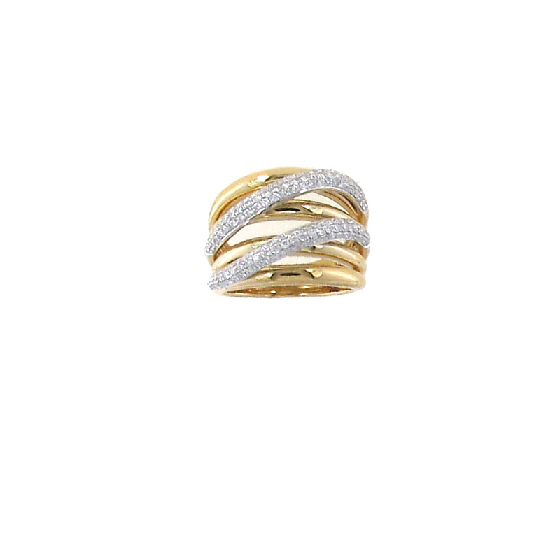 Roberto Coin 18Kt Gold Double Crossover Ring With Diaomnds