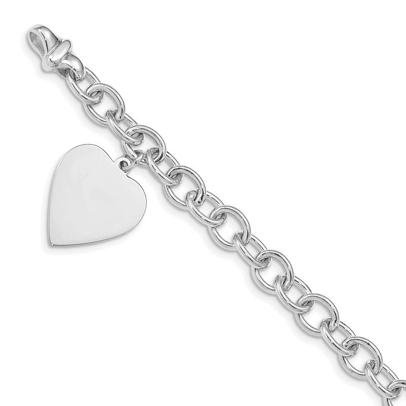 Fine Jewelry by JBD 14k White Gold Link W/ Heart Charm Bracelet