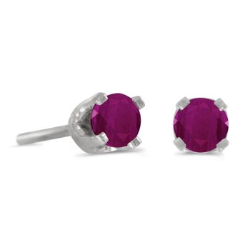 3 mm Petite Round Genuine Ruby Stud Earrings in 14k White Gold