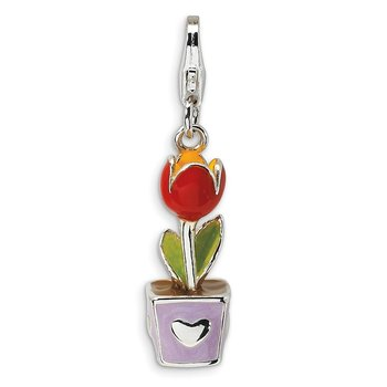 Sterling Silver 3-D Red Enamel Potted Tulip Flower w/Lobster Clasp Charm