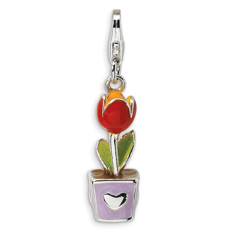 Quality Gold Sterling Silver 3-D Red Enamel Potted Tulip Flower w/Lobster Clasp Charm
