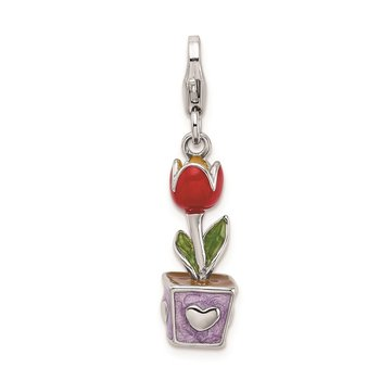 SS RH 3-D Red Enamel Potted Tulip Flower w/Lobster Clasp Charm