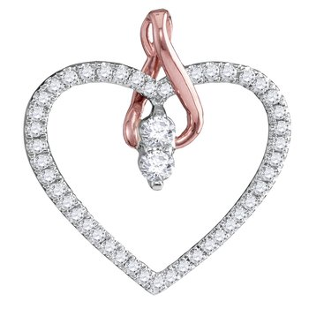 14kt White Gold Womens Round Diamond 2-stone Heart Pendant 1/4 Cttw