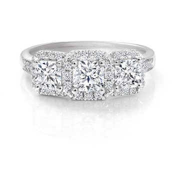 Three-Stone Halo Ideal Square Diamond Engagement Ring