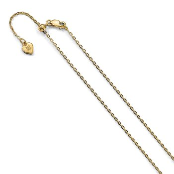 Leslie's Sterling Silver 1.4 mm Gold-plated Adjustable Cable Chain