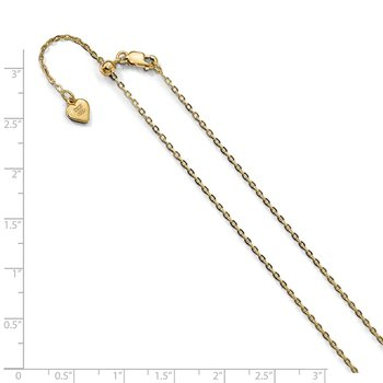 Leslie's Sterling Silver Gold-plated Adjustable 1.4mm Cable Chain