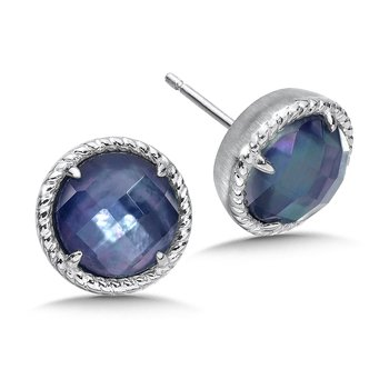 Sterling Silver Quartz & Dyed Blue Mother of Pearl Essentials Post Earrings