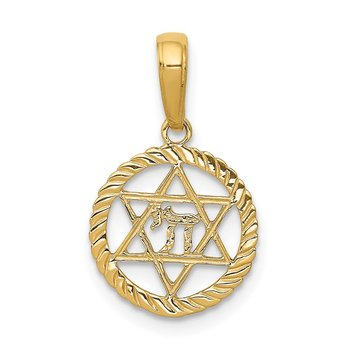 14K Star of David and Chai in Circle Pendant