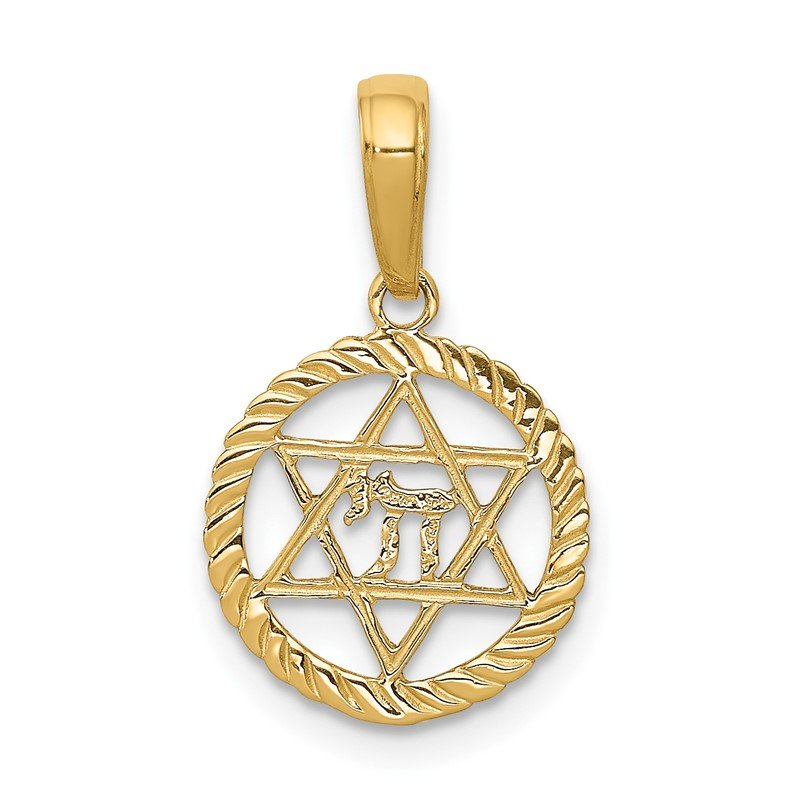Quality Gold 14K Star of David and Chai in Circle Pendant