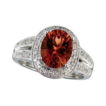 14k White Gold  Large Oval Garnet And Diamond Ring