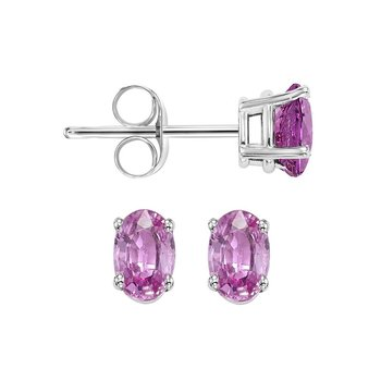 Oval Prong Set Pink Sapphire Studs in 14K White Gold