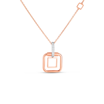 #27992 Of 18K Sm Double Square Pendant W. Dia Accent On Chain