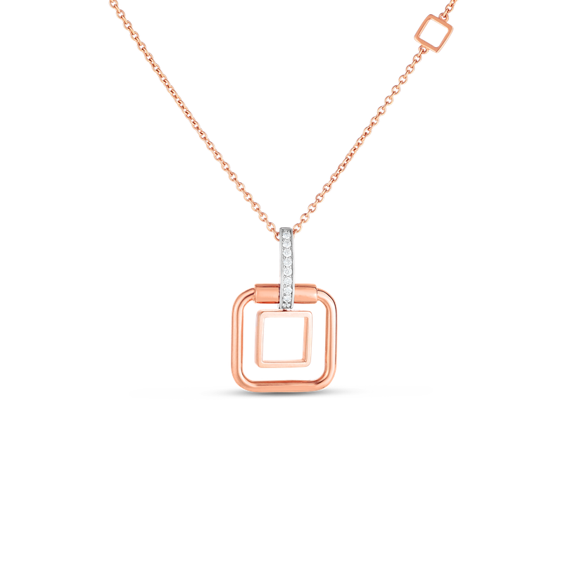 Roberto Coin  #27992 Of 18K Sm Double Square Pendant W. Dia Accent On Chain
