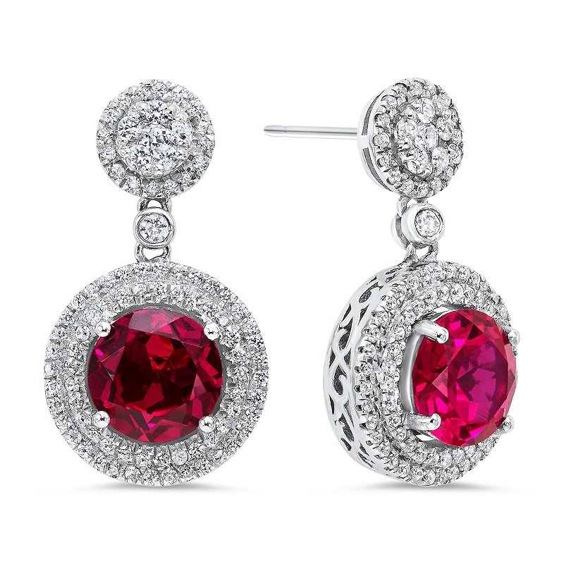 Gemsone Silver Created Ruby Earrings
