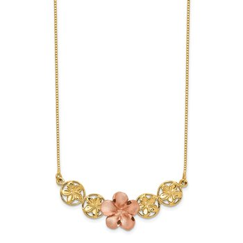 14K Two-tone Polished & Brushed Plumeria Necklace
