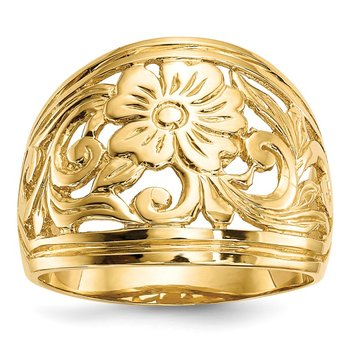 14k Polished Floral Ring