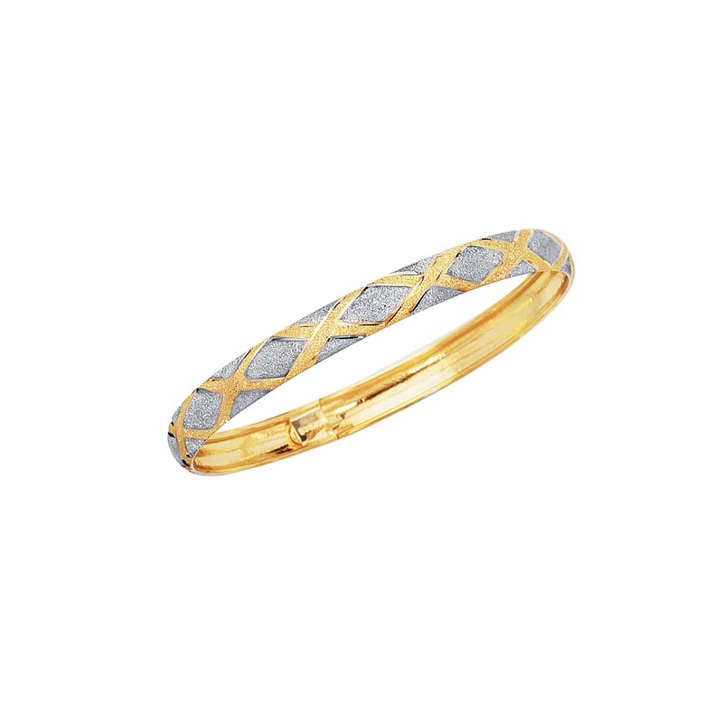 Royal Chain 10K Gold Polished & Satin X Bangle
