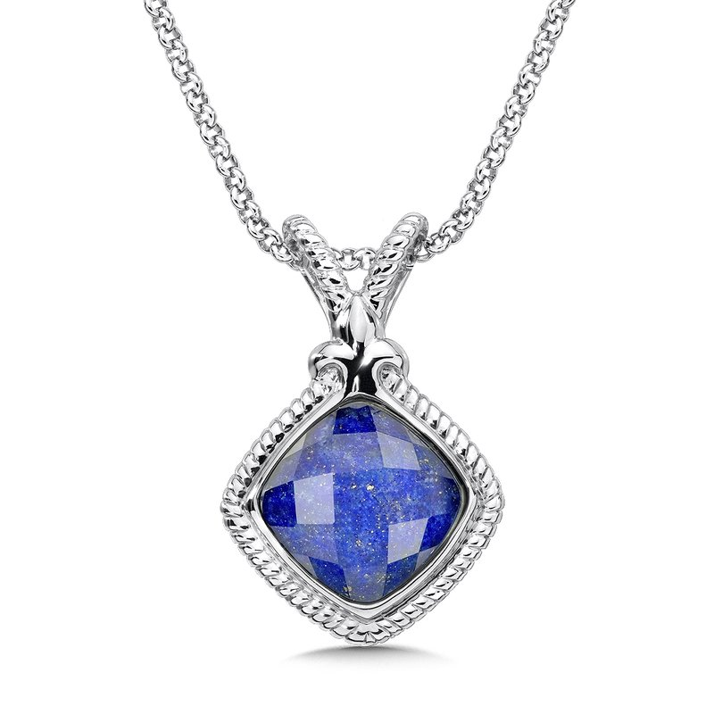 Colore Sg Sterling Silver White Quartz & Lapis Fusion Pendant