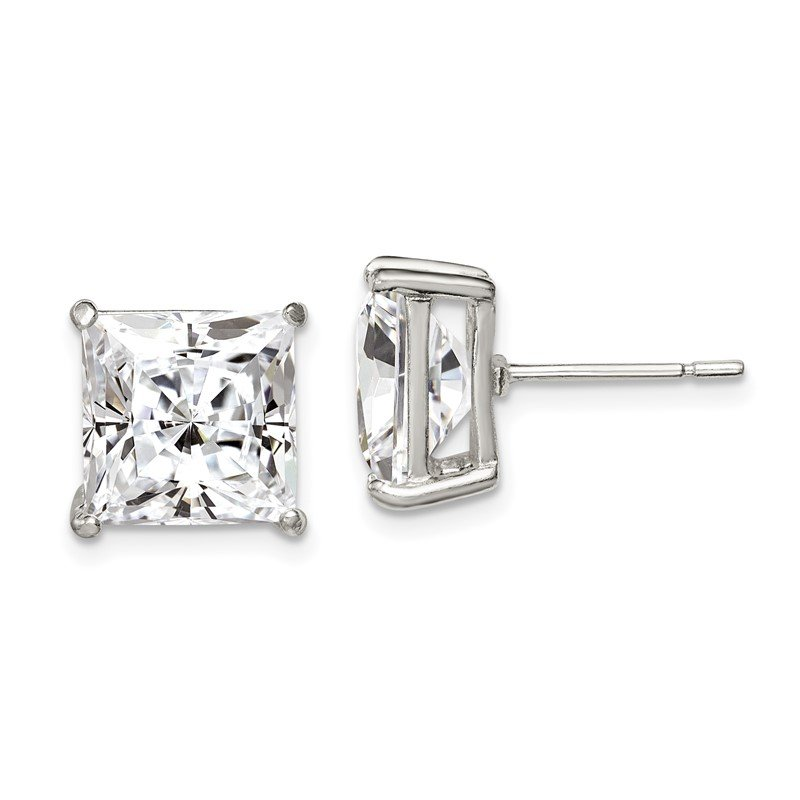 Quality Gold Sterling Silver 10mm Square CZ Basket Set Stud Earrings