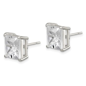 Sterling Silver 10mm Square CZ Basket Set Stud Earrings
