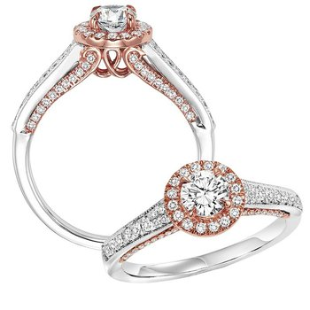 14K Diamond Engagement Ring 1/3 ctw with 1/2 ct Center Diamond