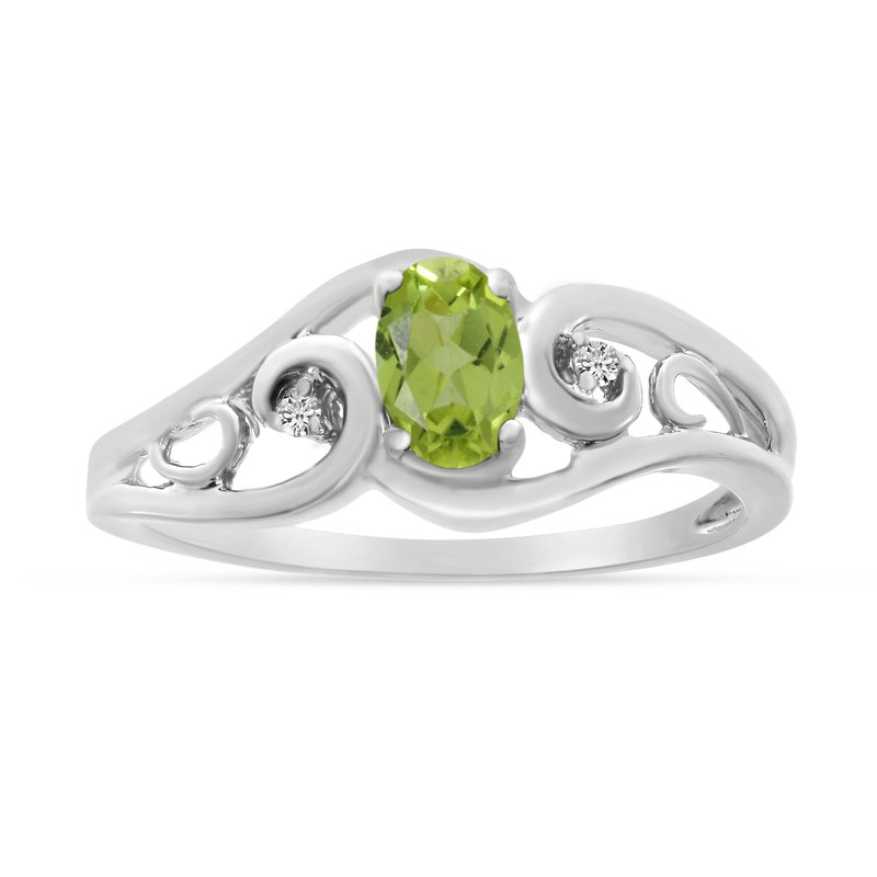 Color Merchants 10k White Gold Oval Peridot And Diamond Ring
