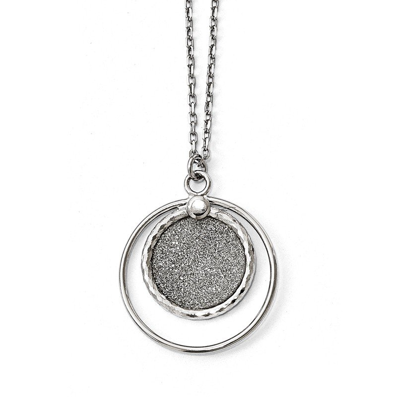 Leslie's Leslie's Sterling Silver Laser Textured with 1in ext. Necklace
