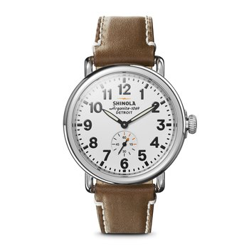 The Runwell 41mm Tan Leather Strap White Dial Mens Watch