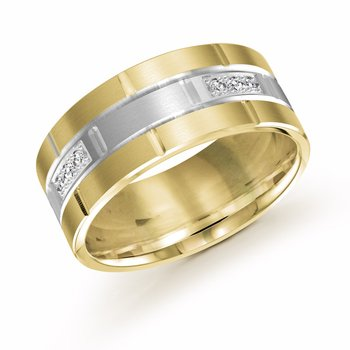 9mm two-tone yellow and white gold brick motif band, embelished with 12X0.015CT diamonds