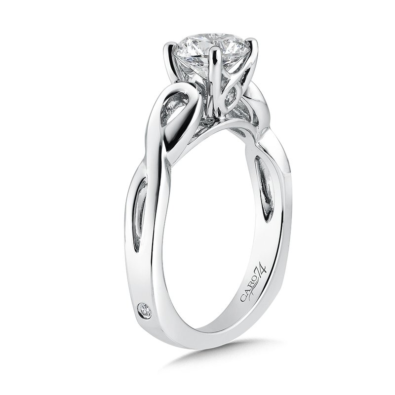 Caro74 Criss Cross Engagement Ring in 14K White Gold with Platinum Head (1ct. tw.)