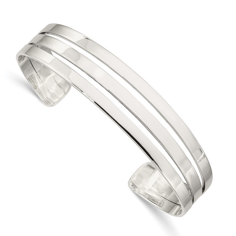 Quality Gold Sterling Silver Polished Cuff Bangle
