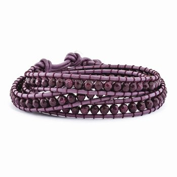 Dyed Purple Jasper Beaded and Leather Multi-Wrap Bracelet